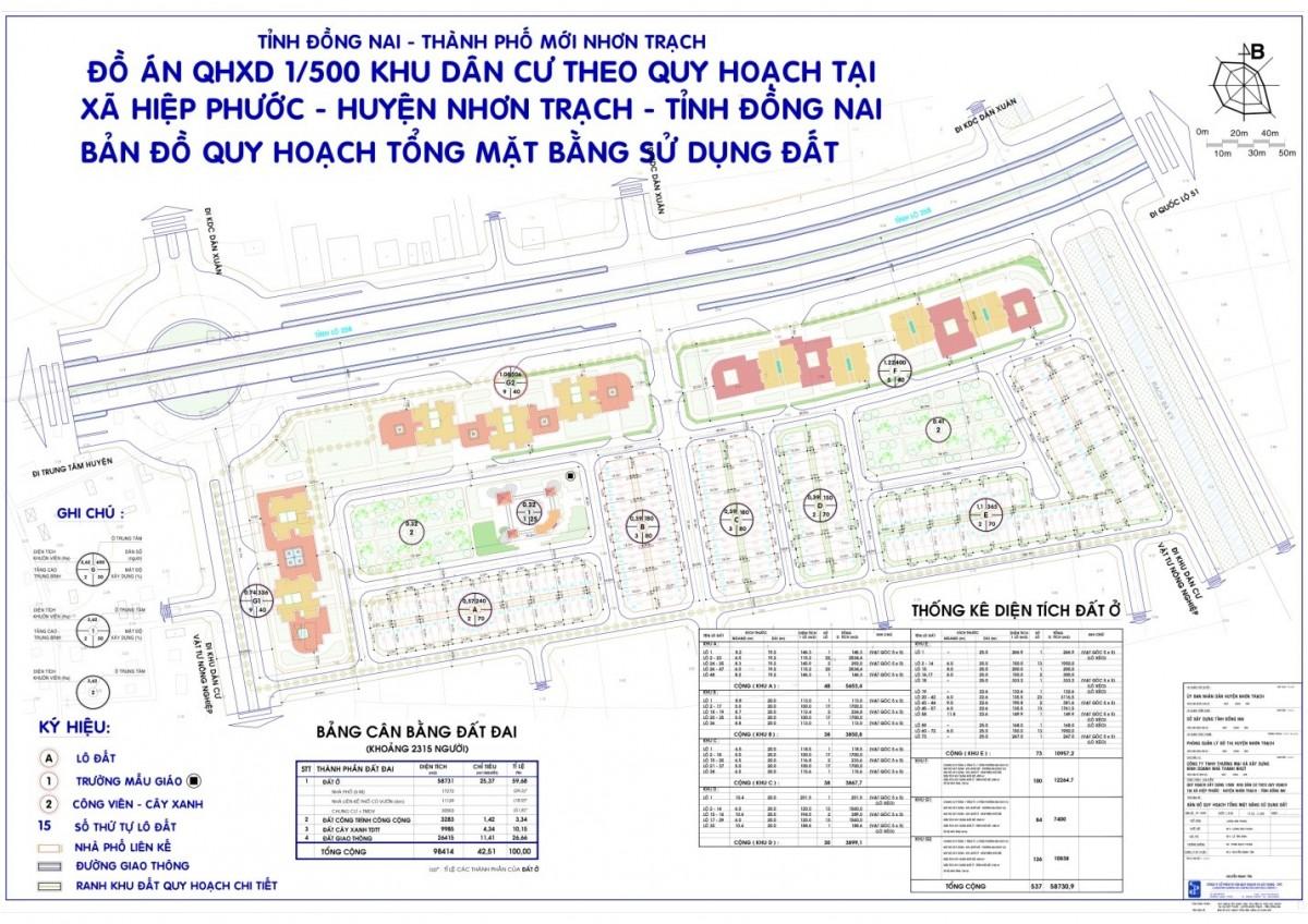 Bản đồ quy hoạch 1/500 Thăng Long Home Hiệp Phước